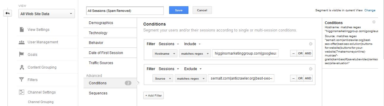 Higgins Marketing Group How to DE-SPAM Your Google Analytics Account in 5 Minutes - Edit1