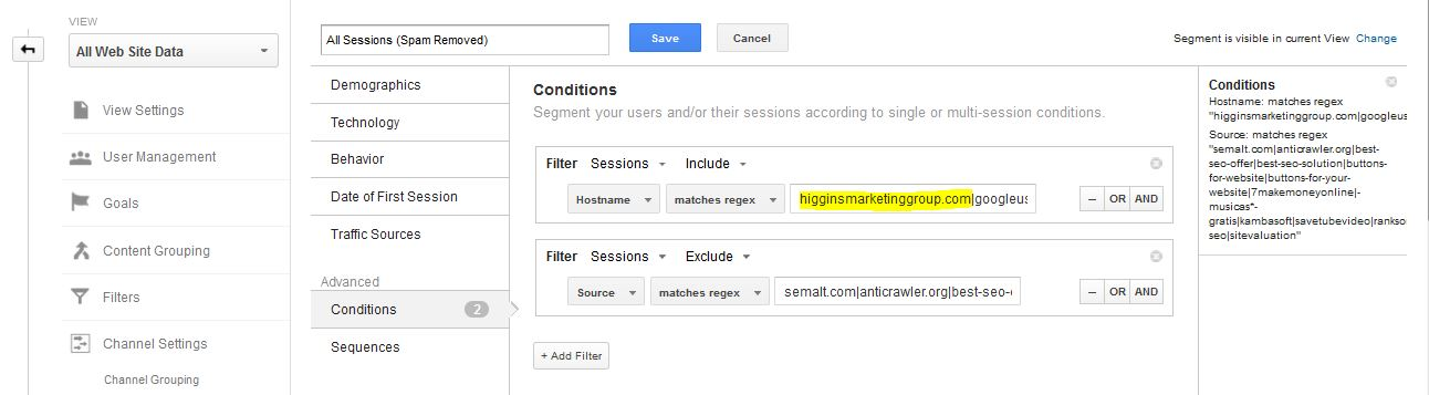 Higgins Marketing Group How to DE-SPAM Your Google Analytics Account in 5 Minutes - Edit2